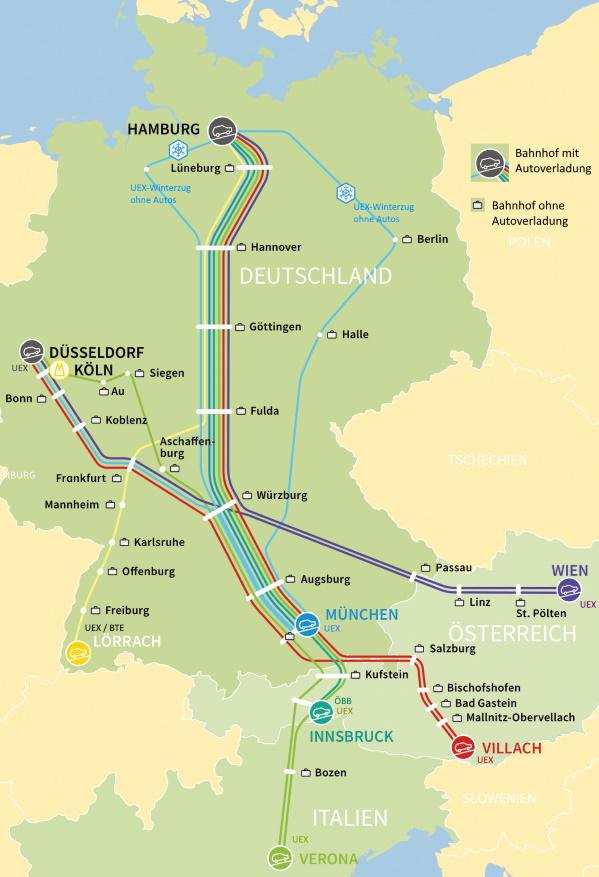 Autozug-Terminals in Deutschland