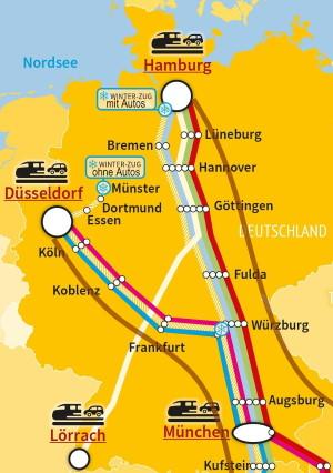 Liniennetz der Autoreisezüge in Deutschland