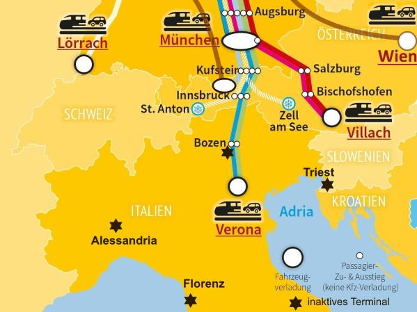 Autoreisezug-Terminals rund um Italien