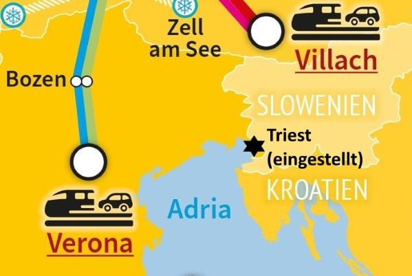 Autoreisezug-Terminals rund um Slowenien