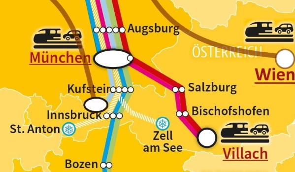 Autoreisezug-Terminals rund um Österreich