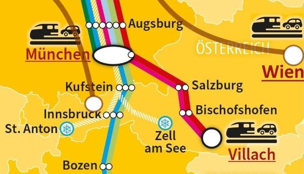 Autoreisezug-Terminals in und um Österreich