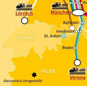 Autoreisezug-Terminals rund um die Schweiz