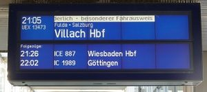 Autozug-Anzeige
